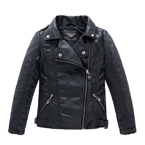 MNLYBABY Boys Collar Motorcycle Faux Leather Coat Zip Leather Jacket (3-4T, Black)