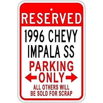 1996 96 Chevy Impala SS en Aluminium Parking Sign, Aluminium, Blanc, 12 x 18 inches Cuisine & Maison