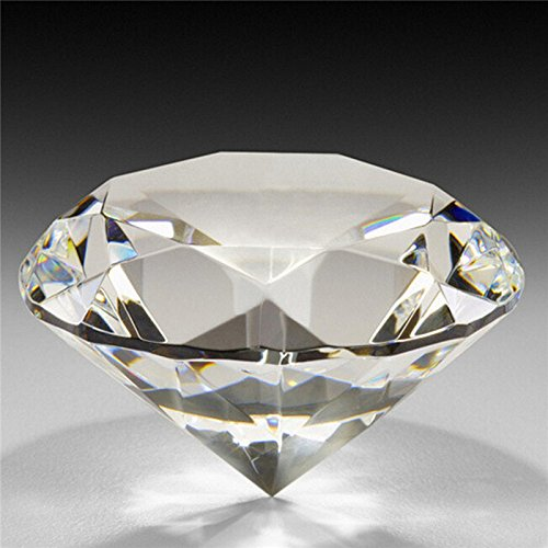(60mm/2.36inch Clear Crystal Diamond Cut Shape Paperweights Glass Gem Home)