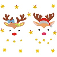 IARTTOP Christmas Reindeer Wall Decal, Lovely Stars Decal, Christmas Sticker for Kids Room Decor, Home Wall Cling Decal