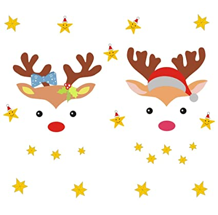 Arttop Christmas Reindeer Wall Decal, Lovely Stars Decal, Christmas Sticker  for Kids Room Decor, Home Wall Cling Decal