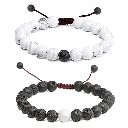 POPSPARK Distance Relationship Couple Bracelet Black Lava Rock amp Howlite Stone for Lovers Friendship Bracelet