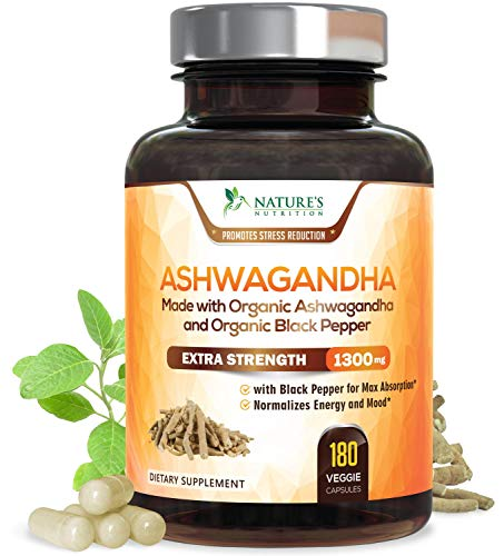 Ashwagandha Organic Ashwagandha Root Powder Extract of Black Pepper Anxiety Stress Relief, Thyroid Support, Adrenal & Mood Support, Anti Anxiety Supplements by Natures Nutrition - 180 Veggie Capsules