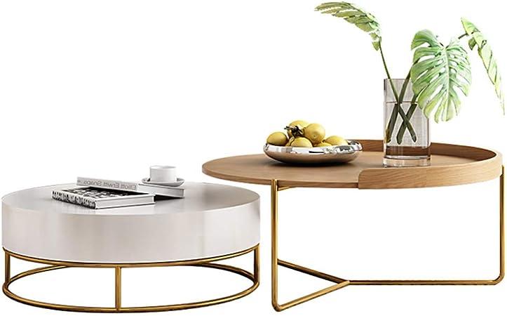 Elegante Moderna mesa de centro de la sala de estar con cajones de almacenamiento Mesa redonda lateral de nido Sofá Mesas laterales Conjuntos con escritorio de madera Muebles de diseño nórdico Mesa: