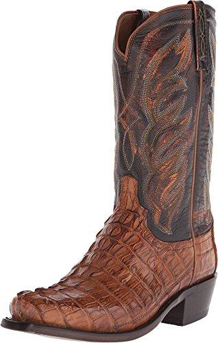 (Lucchese Men's Landon Caiman Tail Cowboy Boot Narrow Square Toe Tan 11 1/2 EE US)