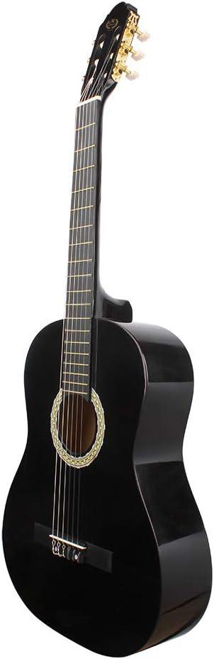 Guitarra de concierto, 39 pulgadas NEGRA Madera Guitarra ...