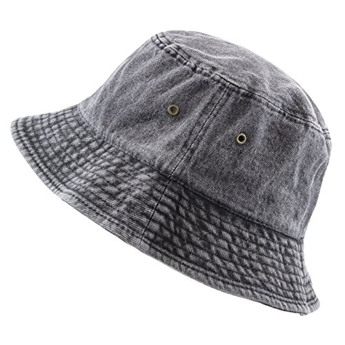 THE HAT DEPOT Washed Cotton Denim Bucket Hat (S/M, Black)]()