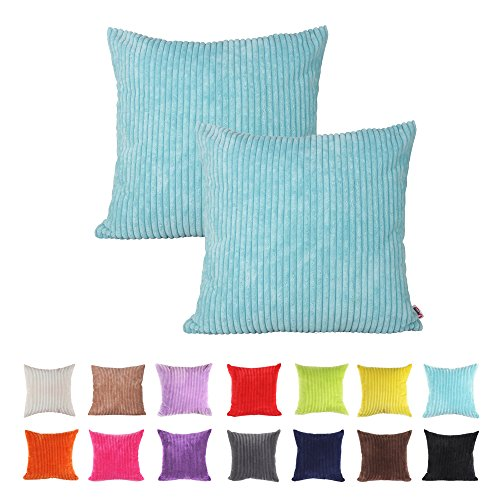 Queenie® - 2 Pcs Solid Color Corduroy Decorative Pillowcase Cushion Cover for Sofa Throw Pillow Case Available in 14 Colors & 5 Sizes (22
