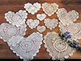 Handmade, Crochet Lace Doily. 100% Cotton Crochet. Ecru, 6 Inch Heart. Four pieces .