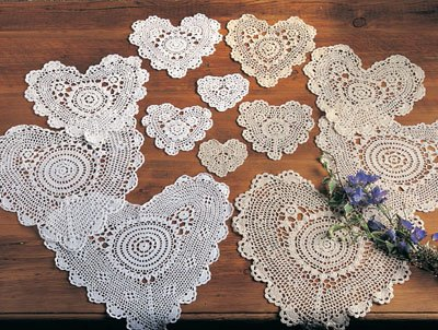 Handmade, Crochet Lace Doily. 100% Cotton Crochet. White, 10 Inch Heart. Four pieces by TCC