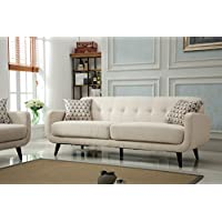 Roundhill Furniture Modibella Contemporary Living Room Sofa, Tan