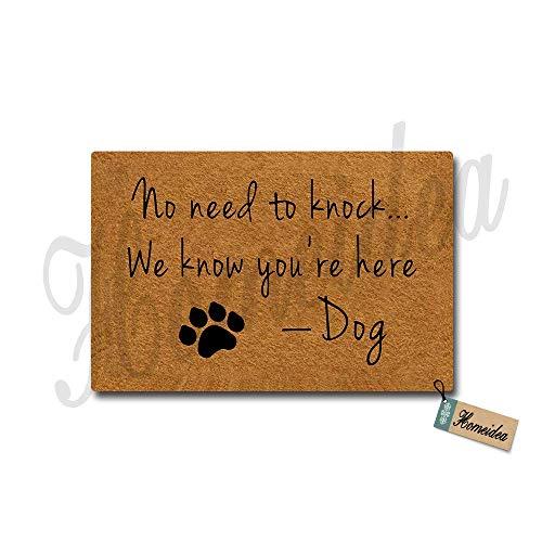 (No Need to Knock We Know You're Here Designed Doormat Funny Doormat Entrance Floor Mat Indoor/Outdoor/Front Door/Bathroom Mats Rubber Non-Slip 18