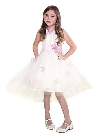 Amazon calla collection usa little girls ivory pink hi low sash calla collection usa little girls ivory pink hi low sash petal tulle flower girl dress mightylinksfo