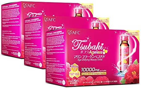 AFC Japan Tsubaki Ageless Beauty Collagen Drink from Japan with 10,000mg Marine Collagen Peptides + 500mg Royal Jelly + Hyaluronic Acid + Vitamin Bs & C for Skin Revitalization (1.69fl.ozx10sx3)