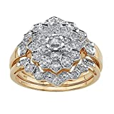 10K Yellow Gold Round Genuine Diamond 3 Piece Pave Bridal Ring Set (1/7 cttw, I Color, I3 Clarity)