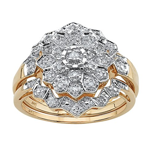 Solid 10K Gold Round Pave Diamond 3 Piece Pave Bridal Ring Set (.14 cttw, HI Color, I3 Clarity) Size 7 (Diamond Jewelry Set Pave)