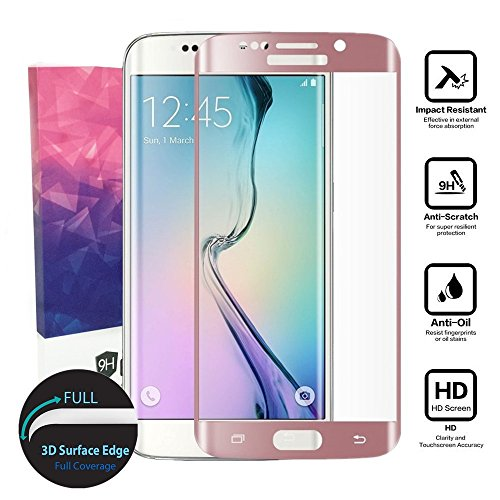 Galaxy S6 Edge Glass Screen Protector,[Full Coverage]Tempered Glass for Samsung Galaxy S6 Edge/G9250 [3D Curve][9H Hardness][Anti-Scratch][Bubble Free][Ultimate Clarity](Rose Gold)
