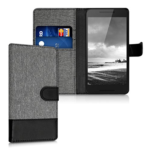 kwmobile Wallet Case for LG Google Nexus 5X - Fabric and PU Leather Flip Cover with Card Slots and Stand - Grey/Black