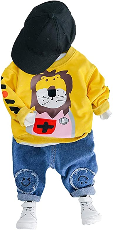 Jeans Denim Trousers 2Pcs Outfits for 1-5 Years Old Kids Gyratedream Boys Clothes Set Sweatshirt Crewneck T-Shirt Cartoon Printed Long Sleeve Tops