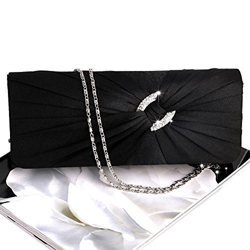 Dabixx Bolso de Mano de Noche Bolso de Mujer Bling Rhinestone Novia Bolso de Mano Bolso de Embrague Cadena, Raso, Plateado, 25.8 x 15.7 x 5.3cm/10.16 x 6.18 x 2.09in Negro
