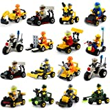 Buildable Vehicles with Minifigures Set of 16,Building Toy for Party Supplies,Birthday Favors for Kids,Gifts