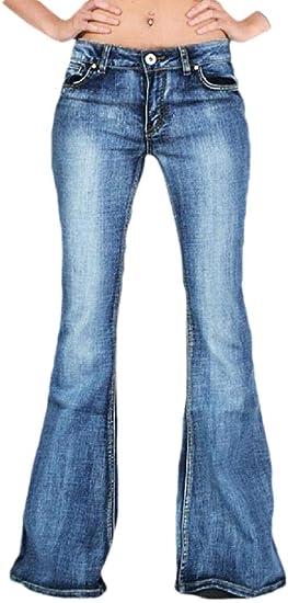 maweisong レディースファッション ハイウエストジーンズコットンワイドレッグストレッチデニムフレアベルボトムジーンズ