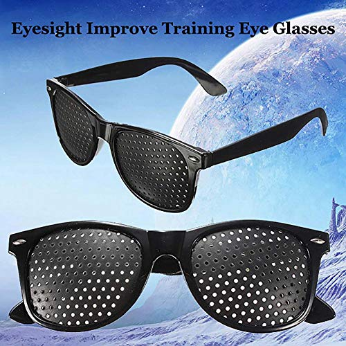 - Black Unisex Vision Care Pinholes Eye Exercise Eyeglasses Pinholes Glasses Eyesight Improve Plastic