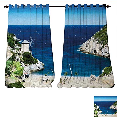 (Patterned Drape for Glass Door Rocky Sandy Cove North of The Old Town Alonissos Calm Seascape Idyllic Scenery Waterproof Window Curtain W108 x L108 Blue White Green)