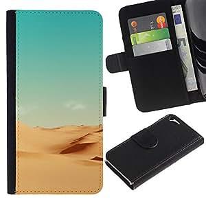Minimalista Paisaje del desierto - la tarjeta de Crédito Slots PU Funda de cuero Monedero caso cubierta de piel Para Apple iPhone 5 / iPhone 5S