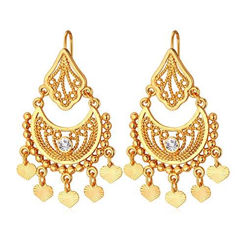U7 18K Gold Half Moon & Tinkle Bell Love Classic Dangling Earrings (Gold)
