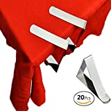 FineInno Stainless Steel Tablecloth Clips Table Cover Clamps Endurable Metal Tablecloth Holders Anti Wind for Less Than 1.9 Inches Thick Tables for Outdoor ,Party,Restaurant, Wedding (20Packs)
