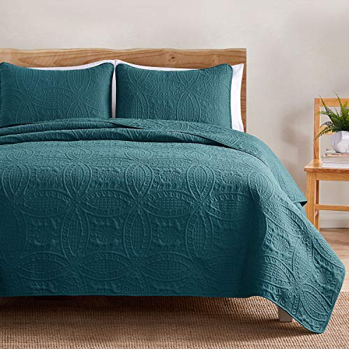 VEEYOO Bedspread Quilt Set - Soft Microfiber Lightweight Coverlet Quilt Set for Summer, Bedspreads Full/Queen Size (1 Quilt, 2 Pillow Shams), Teal