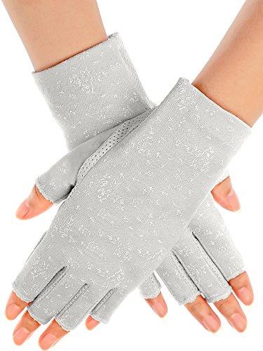 Maxdot Women Sunblock Fingerless Gloves Non Skid Summer Gloves UV Protection Driving Gloves (Black, 1 Pair) (Grey)