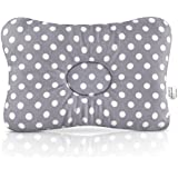 Baby Infant Flat Head Shaping Pillow - Prevent Correct Plagiocephaly Syndrome, Premium Ergonomic Head and Neck Support by JJ SCOTT, 3D Breathable Cotton Air Mesh, Boy Girl Unisex Baby Shower Gift