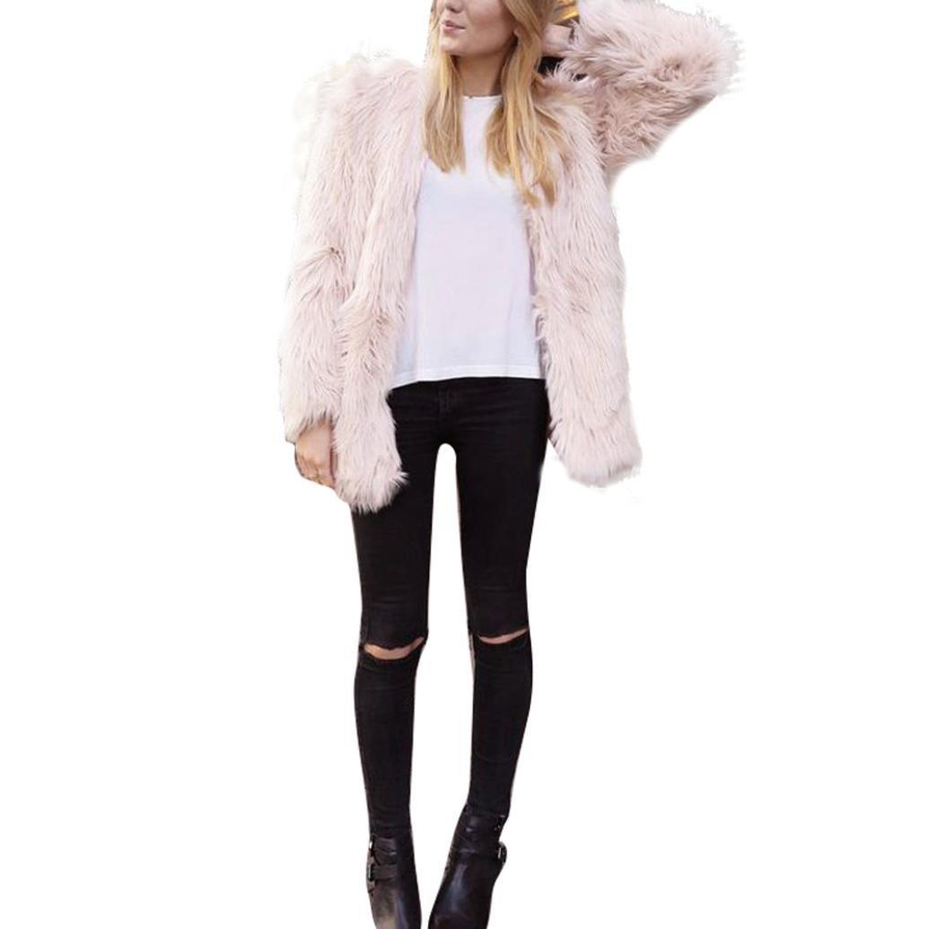 Perman Womens Winter Warm Faux Fur Short Coat Jacket Parka Outerwear Tops (S, Pink)