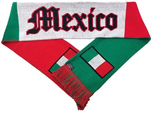 RUFFNECK National Soccer Team Mexico International Soccer El Tri Scarf, White, One Size