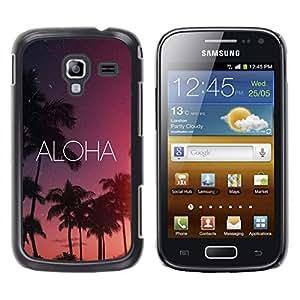 FlareStar Colour Printing Aloha Hawaii Night Sky Stars Text Pink cáscara Funda Case Caso de plástico para Samsung Galaxy Ace 2 i8160 / Ace2 II XS7560M