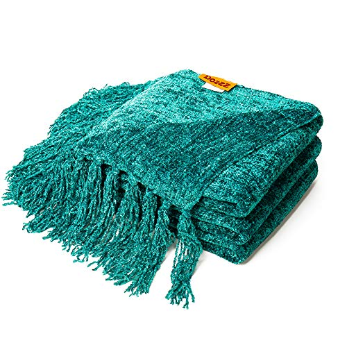 (DOZZZ Fluffy Chenille Knitted Throw Blanket with Decorative Fringe for Home Décor Bed Sofa Couch Chair Teal)