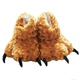 Tonwhar Animal Paw Claw Fuzzy Faux Fur Warm Novelty Slippers (Brown)