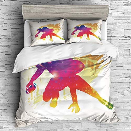 (3 Pieces (1 Duvet Cover 2 Pillow Shams)/All Seasons/Home Comforter Bedding Sets Duvet Cover Sets for Adult Kids/Singe/Football,Vibrant Silhouette of American Football Player in Rainbow Colors Grunge D)