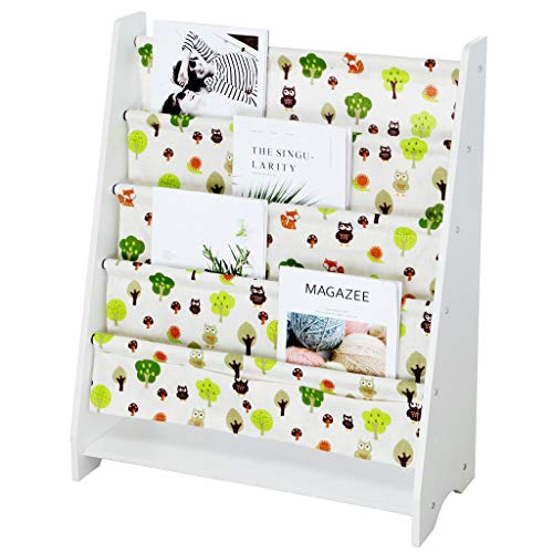 JAWM Wooden Sling Bookcase - Green & White, Sturdy Canvas Fabric Kids Bookshelf Sided Book Display Stand,Toy Picture Book Storage Rack