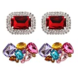 Polkar 2 Pairs Elegant Rhinestone Crystal Metal Shoe Clips Shoe Buckle for Wedding Party Decoration (Color B)