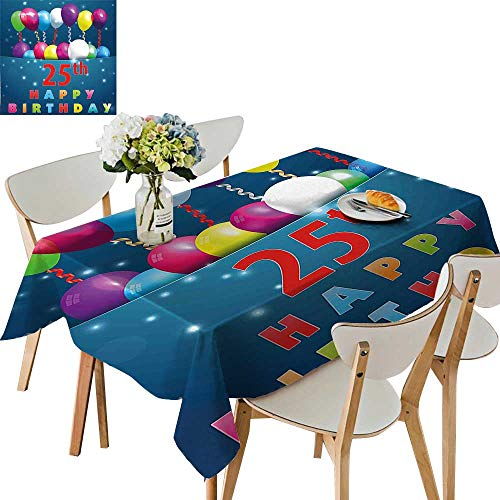 UHOO2018 Square/Rectangle Polyester Table Cloth Surprise Party Theme Blue Backdrop Swirled Ribbons Twenty Five Easy Care Spillproof,50x 50inch