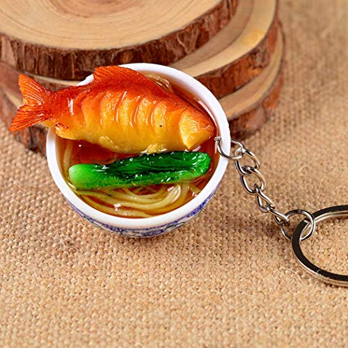 LimiFas Mini Bag Pendant Simulation Food Key Chains Noodle Creative Keychain Hot New Chinese Blue and White Porcelain Food Bowl StyA 1PC