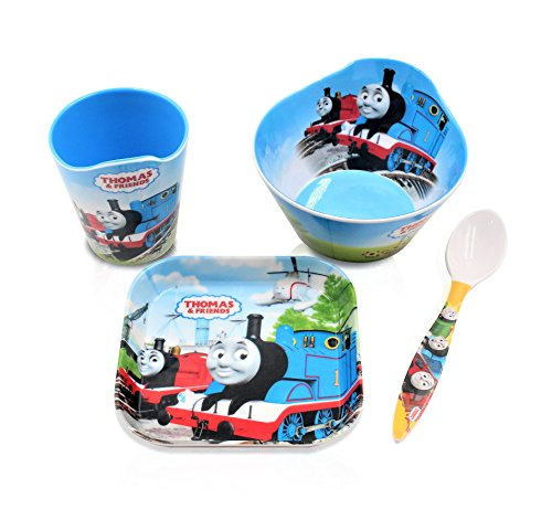 Finex Set of 4 - Blue Thomas the Train Meal Set - Cup, Spoon, Bowl, Plate Kids Dinner Meal Dishes Feeding set for toddlers Microwave Dishwasher safe (Thomas The Tank Engine Slippers)