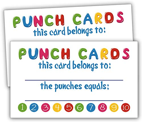 Incentive Cards-50 Rewards Punch Cards for Kids, Students, Teachers, Small Business, Classroom, Chores, Reading Incentive Awards for Teaching Reinforcement Loyalty Cards for Business Customers. -