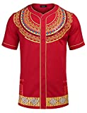 COOFANDY Mens African Dashiki American Casual Button Down Shirt Short Sleeves, Red, XX-Large