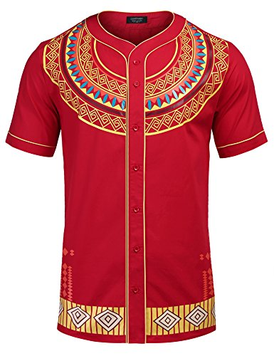 COOFANDY Mens African Dashiki American Casual Button Down Shirt Short Sleeves,Red,Medium by COOFANDY