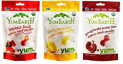 YumEarth Organic Gluten Free Vegan Candies 3 Flavor Variety Bundle: (1) Assorted Flavors, (1) Cheeky Lemon, and (1) Pomegranate, 3.3 Oz. Ea.