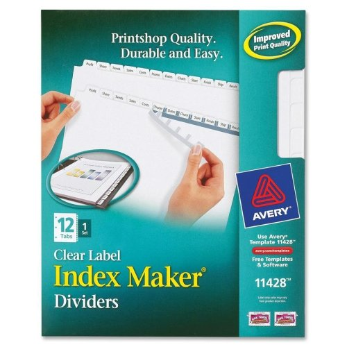 Wholesale CASE of 25 - Avery Prepunched Index Maker Dividers w/ Tabs-Index Maker, Laser, Punched, 12-Tabs, 1/ST, White